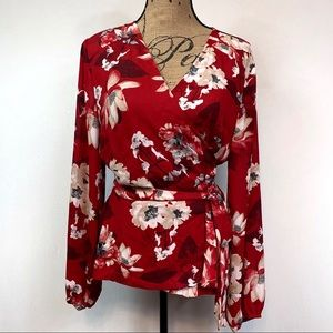 INC Red Floral Wrap Blouse Size XL